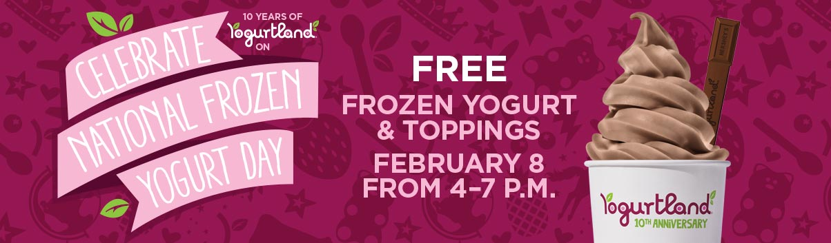 Celebrate National Frozen Yogurt Day with FREE frozen yogurt and toppings - February 8 from 4-7PM