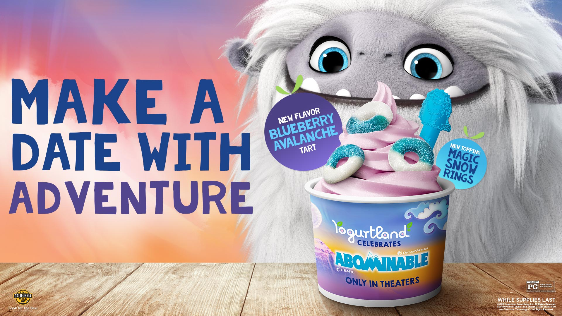 Make a date with adventure! New flavor: Blueberry Avalanche Tart. New topping: Magic Snow Rings. While supplies last.