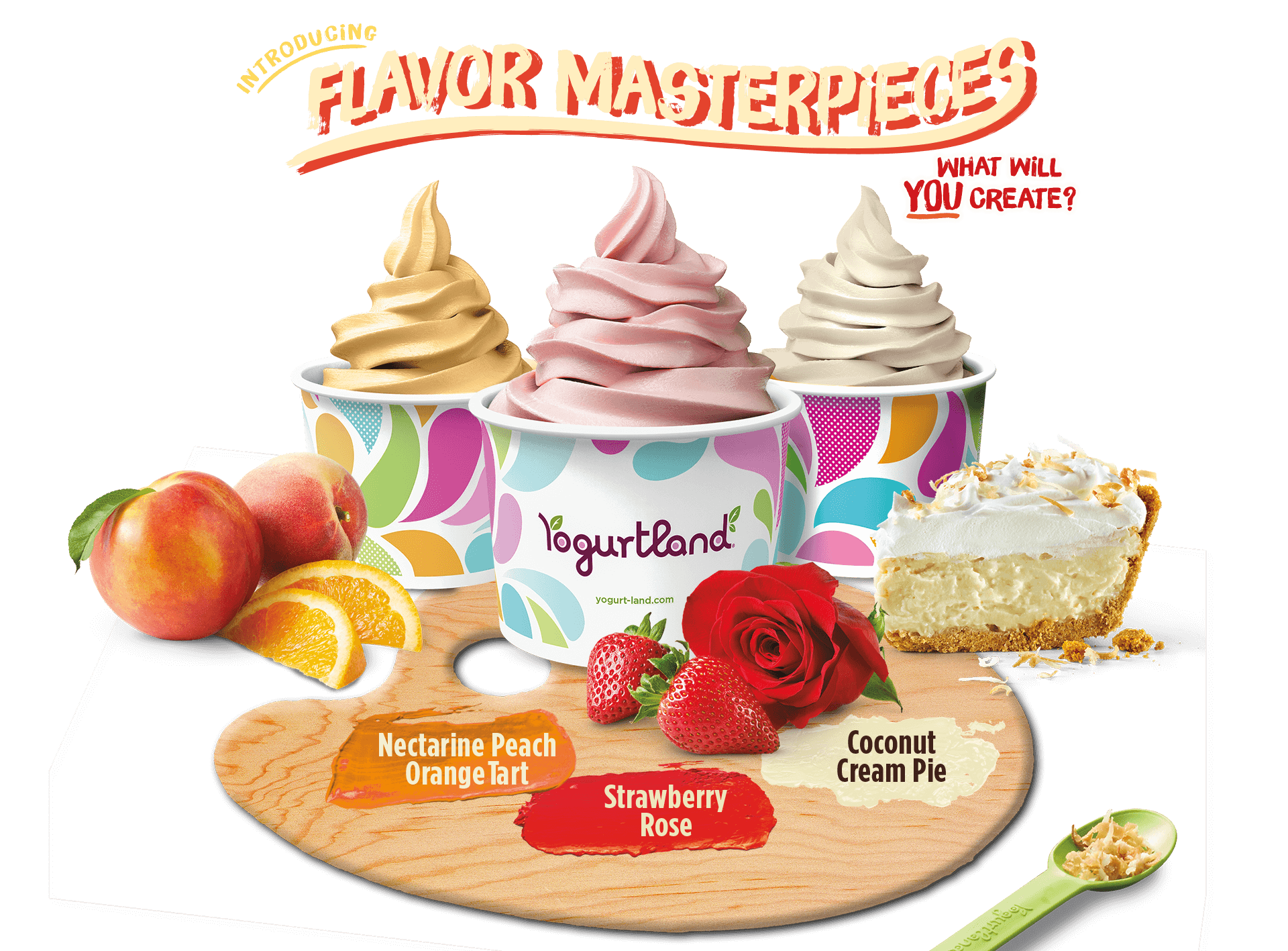 Introducing Flavor Masterpieces! What will you create? Nectarine Peach Orange Tart, Strawberry Rose and Coconut Cream Pie.