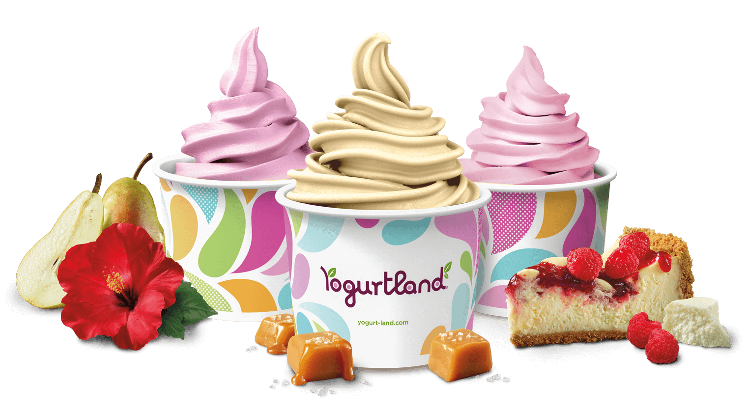 It's spring and our new flavors are blooming: Hibiscus Pear Tart, Sea Salt Caramel Soft Serve and White Chocolate Raspberry Cheesecake